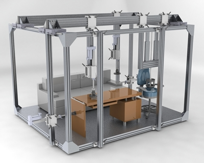 Multiaxial testing frame for testing furniture real performance