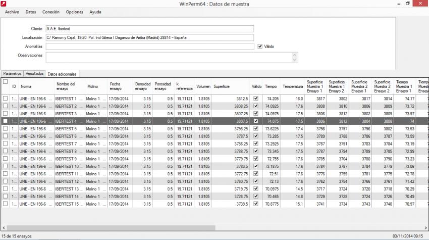 Vista de la ventana de datos adicionales de ensayo de WinPerm64.